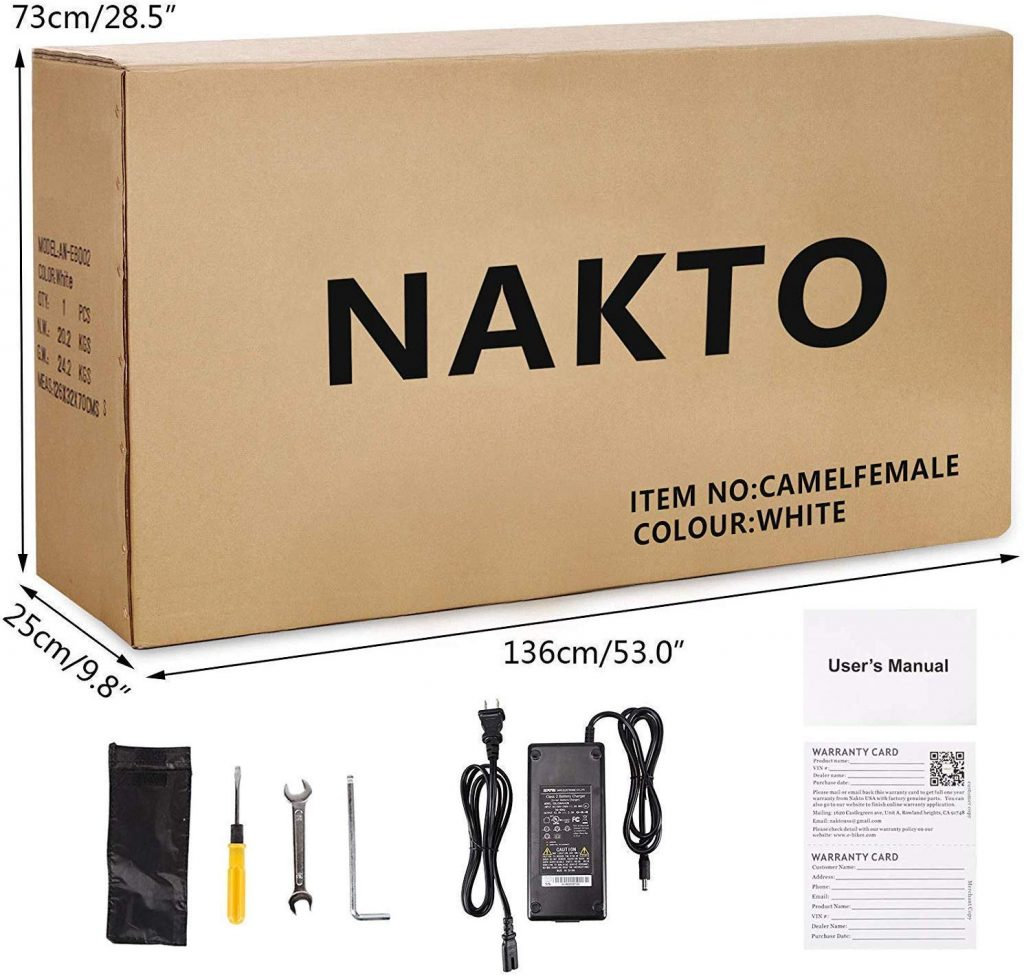 NAKTO 26in 250W Cargo Electric Bicycle Tools Assembly