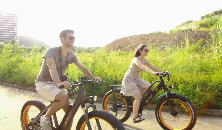 Couple Riding Ebikes